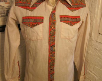 Size XL (15.5, 34) ** Exceptional 1970s Two Tone Cowboy Shirt