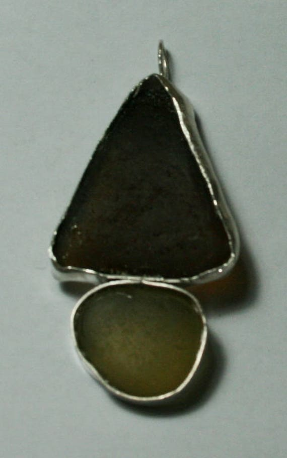 AUTUMNAL SAILBOAT SEAGLASS - Pendant set in Sterling silver