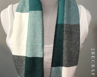 Teal Plaid Infinity Scarf