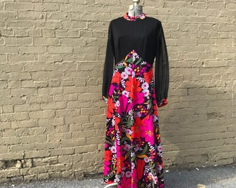 1960s vintage floral floor length maxi dress with sheer sleeves