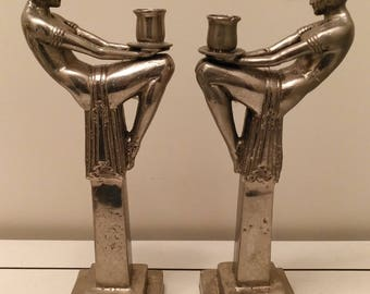 Splendid Art Deco lady seating on pillars sculptures candlesticks after MAX LEVERRIER circa 1940s