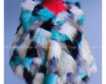 Faux Fur Stole, Teal Fur Shawl, White Bridal Shawl, Wedding Fur Wrap Shawl, Fur Wrap, Ivory Fur Bridal Wrap, Winter Wedding, Wedding Shawl
