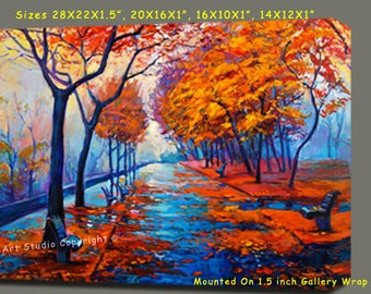 """Autumn Landscape  Art Mixed Media Canvas With Acrylic Em Gallery Wrap Ready To Hang Up To Size 34X28X1.5"""""""