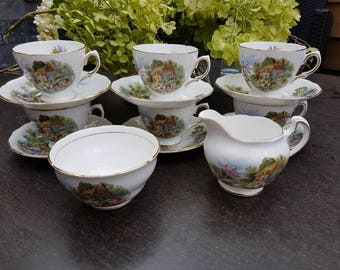Vintage//Royal vale bone China cups and saucers Set////6//milk can and sugar bowl//Hightea//landscape/cottage/flea market//English style
