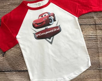 Personalized Cars Birthday Raglan Shirt Toddler Sizes Available