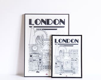 London - series illustration * Travel With Me *. Black and white. 32 x 45 cm