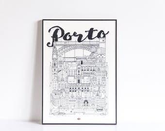 Porto - series illustration * Travel With Me *. Black and white. 21 x 29.7 cm