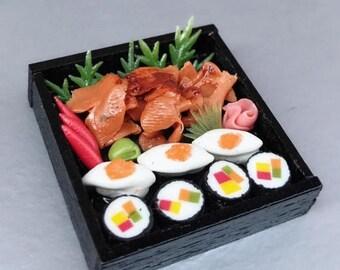 MidYear Sale15% Miniature Japanese Sushi,Miniature Sushi Set,Miniature Japanese food,Sushi box set,Dolls and Miniature,Dollhouse food,Mini s