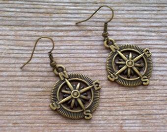 Brass Compass Earrings, Antiqued Brass Compass Dangles, Traveller Earrings, Nautical Earrings, Gift For Her