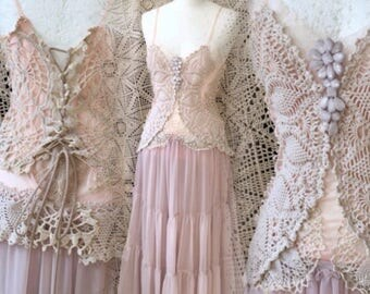 Boho wedding dress rose colored,bridal dress pale pink,antique lace dress ,bohemian wedding dress chrochet,forest wedding dress rose,rawrags