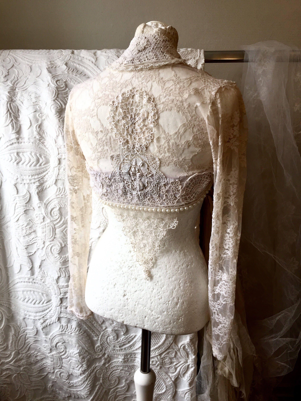 Wedding bolero beaded bolero Antique inspired wedding lace