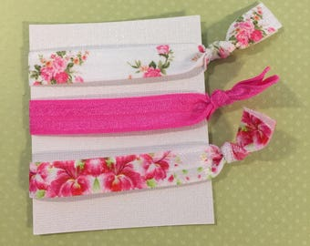 Pink Floral Elastic Hair Ties, Set of Three.