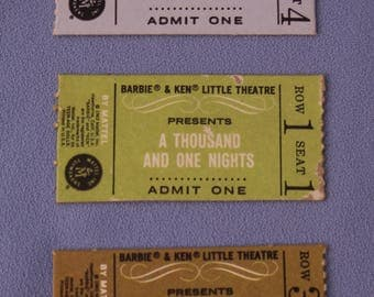 3 Vintage Barbie 1964 Little Theatre Tickets, Near Mint