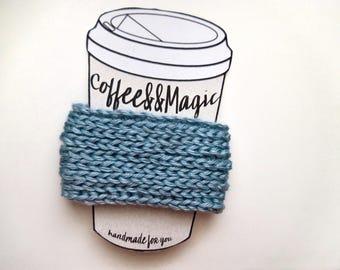Dusty Blue Coffee Cup Sleeve, Coffee Cozy