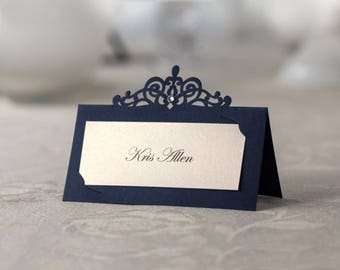 Set of 24 pcs Hollow-out Place Cards - Navy Blue Reception Place Cards, Name Cards Holders - Wedding, Party Banquets Table Decors