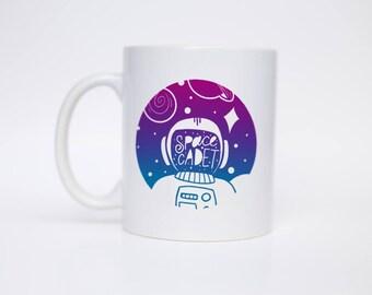 Space Cadet - Coffee Mug - Hand Lettered Mug - Morning Mug - Gift Under 20 - C Handle Mug/MUG-117
