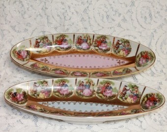 Vintage Arnart Creations Japan Oval Dishes, Set of 2, Hand Painted, Cameo scenes. Home Decor