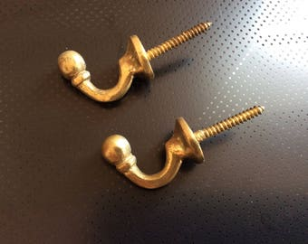 Pair of Vintage French Hook Shape Solid Brass Curtain Tie backs
