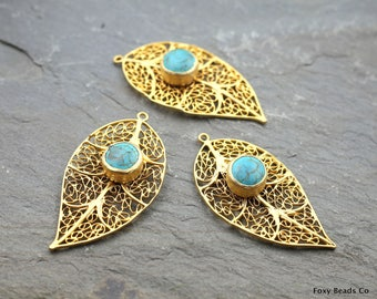 Leaf Pendant, Filigree Leaf, Matte 24K Gold Plated Filigree Leaf Pendant with Bezel Set Turquoise Color Howlite Stone -GS023