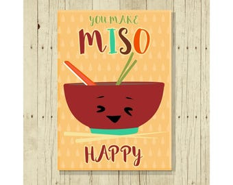 You Make Miso Happy, Funny Magent, Refrigerator Magnet, Cute Fridge Magnet, Gifts Under 10, Small Gift, Funny Pun, Gift Magnet, Sushi