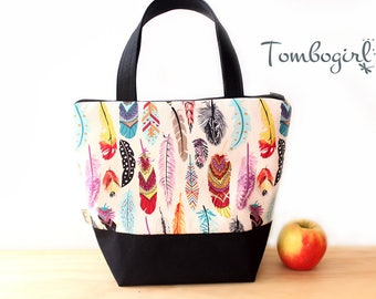 Insulated Lunch Bag / lunch Tote, Personalised, Australian made, zipped, waterproof lining – Medium or Large, Rainbow Feather