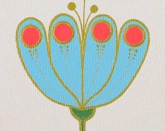 Botanical Study #11-ORIGINAL painting/blue tulip