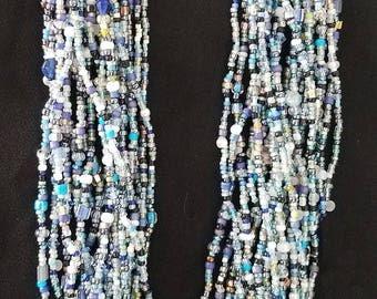Black & Blue Multi Strand Beads