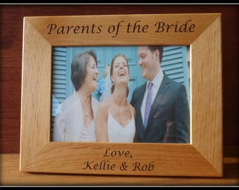 Parents of the Bride, Parents of the Groom Gift, Personalized Laser Engraved Picture Frame, Customized Engraving ,Wedding Party Gift, Father