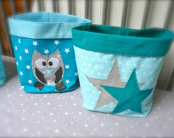 Pouches OWL and stars blue turquoise and teal, gray (x 2)