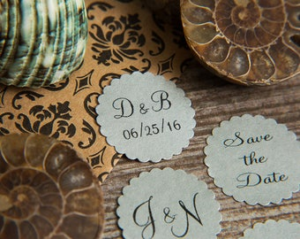 200 Silver, Save the Date, thank you, Envelope seals, wedding stickers invitations. Custom Printed Scalloped Round wedding Favour stickers.