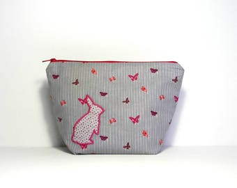 "Small toiletry bag ""Rabbit with butterflies"""