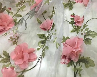 "Sale, Hight quality organza applique flower fabric,  3D flowers fabric, curtains fabric, wedding dress by 1m -(SXIL)- about 140cm/55""wide"