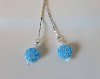 Venetian glass earrings -- Millefiori box chain threads -- 925 sterling silver earrings