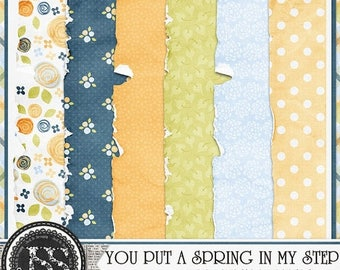 On Sale 50% You Put A Spring In My Step Worn and Torn Papers Digital Scrapbooking Kit