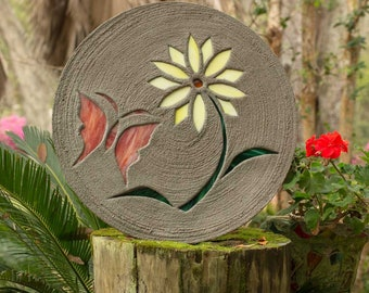 "Red Butterfly With Yellow Daisy Stepping Stone 18"" Round Made of Concrete and Stained Glass Perfect for Your Garden Patio Backyard Pool #816"