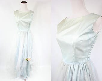 1950's Seafoam Tulle Pink Rose Sleeveless Ball Gown Party Dress