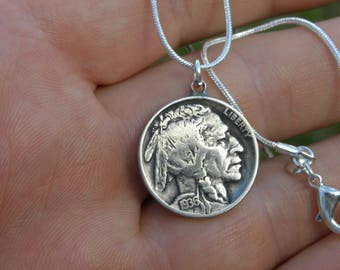 Authentic Buffalo Indian Nickel coin Various dates pendant bracelet anklet  tribal surfer style handmade 18 inch sterling silver  chain