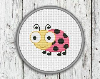 Cute Ladybug Counted Cross Stitch Pattern,  Needlepoint Pattern - PDF, Instant Download
