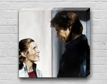 Fly Boy and Her Worship - Princess Leia / Carrie Fisher and Han Solo / Harrison Ford Star Wars Art 14x14 inch Canvas Art Print