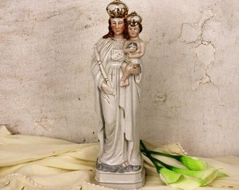 Antique Porcelain Statue Figurine Virgin Mary Our Lady with Infant Child HTF