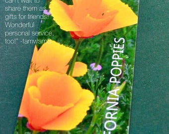California Poppies Bookmark Traveler Gift Floral Bookmark California Gift Orange Poppy Flower Lover Book Lover Gardener Gift Thank You Gift