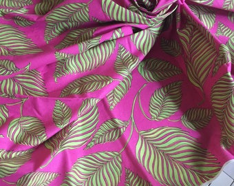 Cotton Fabric Pink and Green Palm Print