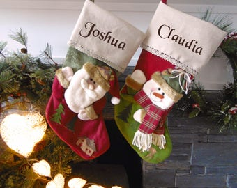 Burlap Snowman Personalised Christmas Stockings - personalised with any name