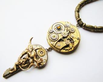 Steampunk Antique Watch Movement & Dragon Key Pendant Necklace, Steampunk Necklace, Steampunk Dragon, Steampunk Key, Steampunk Watch PN76