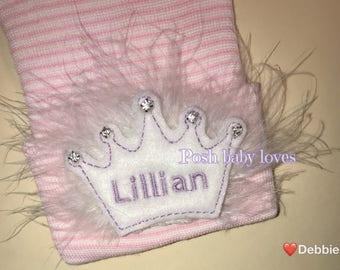 Newborn Hospital Hat Monogramed with Name! 1st Keepsake! White Monogrammed Tiara with Rhinestones on white Fluff on White/Pink Hat! Cute!