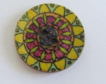 Pink and yellow mandala style pattern wooden button