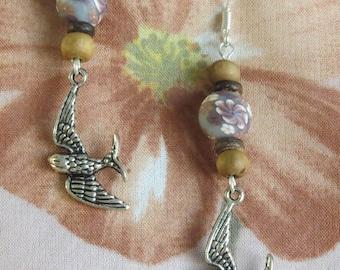 Earrings Bohemian bird & flowers