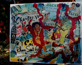 """""""A PUNCH?"""" COLLAGE ON CANVAS 50-60'S RARE ADS"""