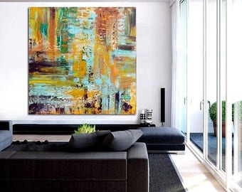 ON SALE Abstract painting art wall art canvas modern home decor ready to hang free shipping
