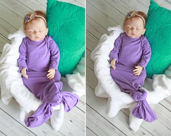 Knotted Baby Gown - CUSTOM - Mermaid Baby Gown - Infant Gown - Newborn Gown - Made to Order - Mermaid Gown - Sleeper - Scratch Mitts